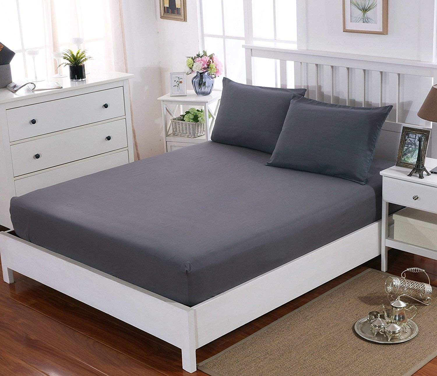 Extra Deep King Size Fitted Sheet Brushed Microfiber Breathable Grey
